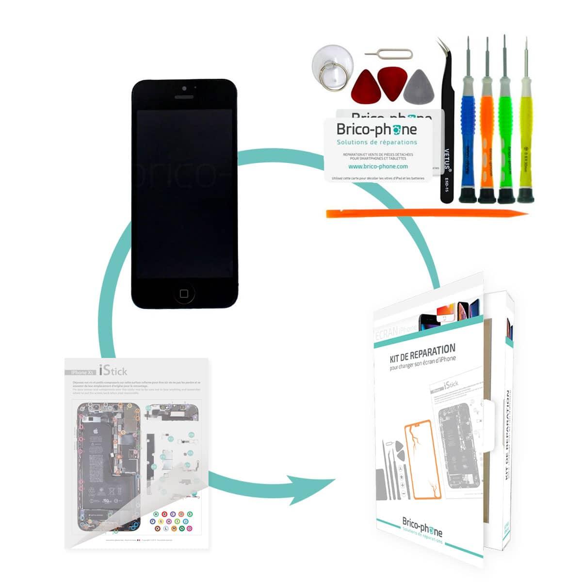 Kit de réparation Brico-phone avec écran NOIR iPhone 5 RAPPORT QUALITE / PRIX pré-assemblé
