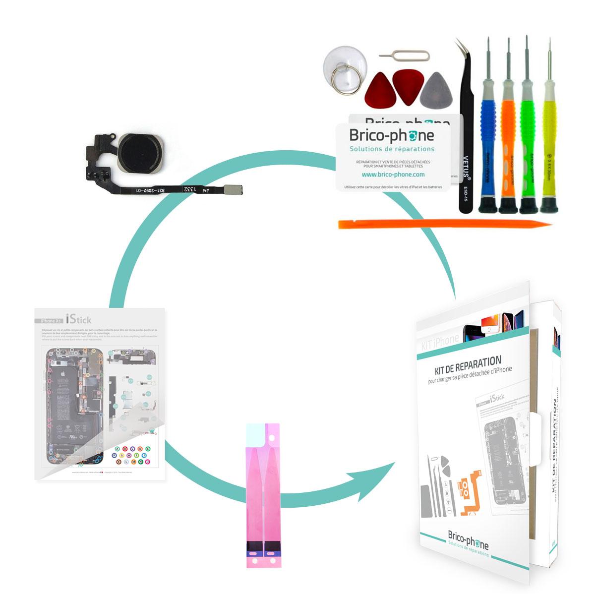 Kit Brico-phone pour changer la nappe home NOIR iPhone 5S et SE