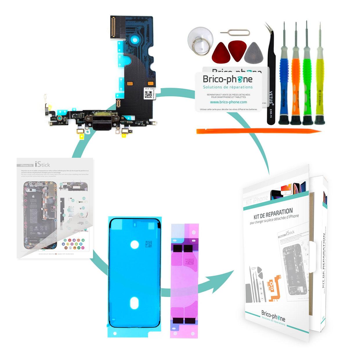 Kit Brico-phone pour changer le connecteur de charge et micro NOIR iPhone 8