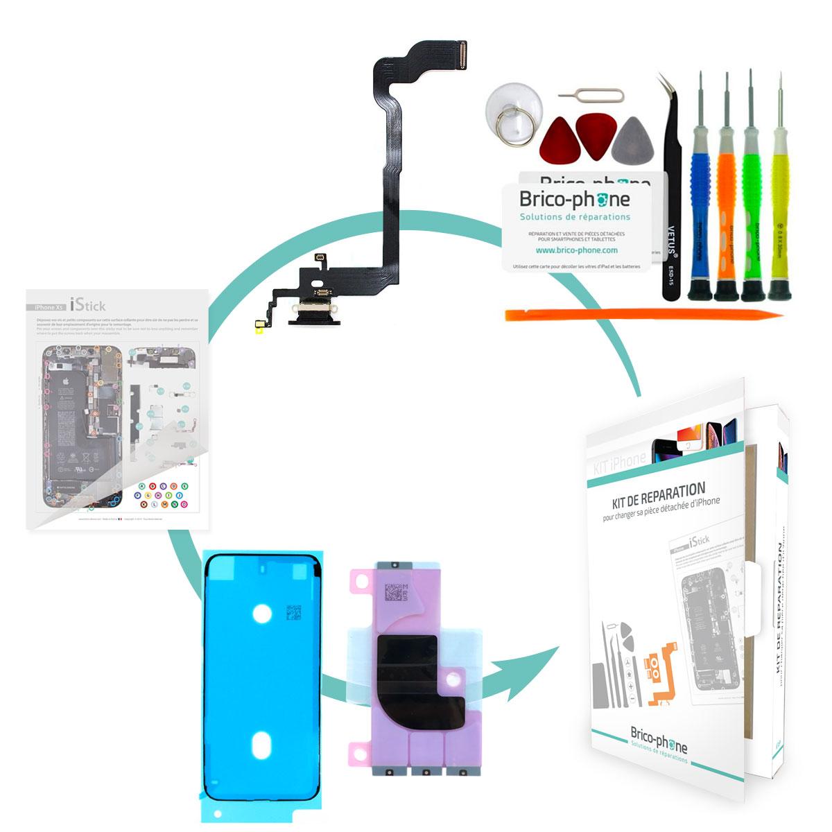 Kit Brico-phone pour changer le connecteur de charge Noir iPhone X