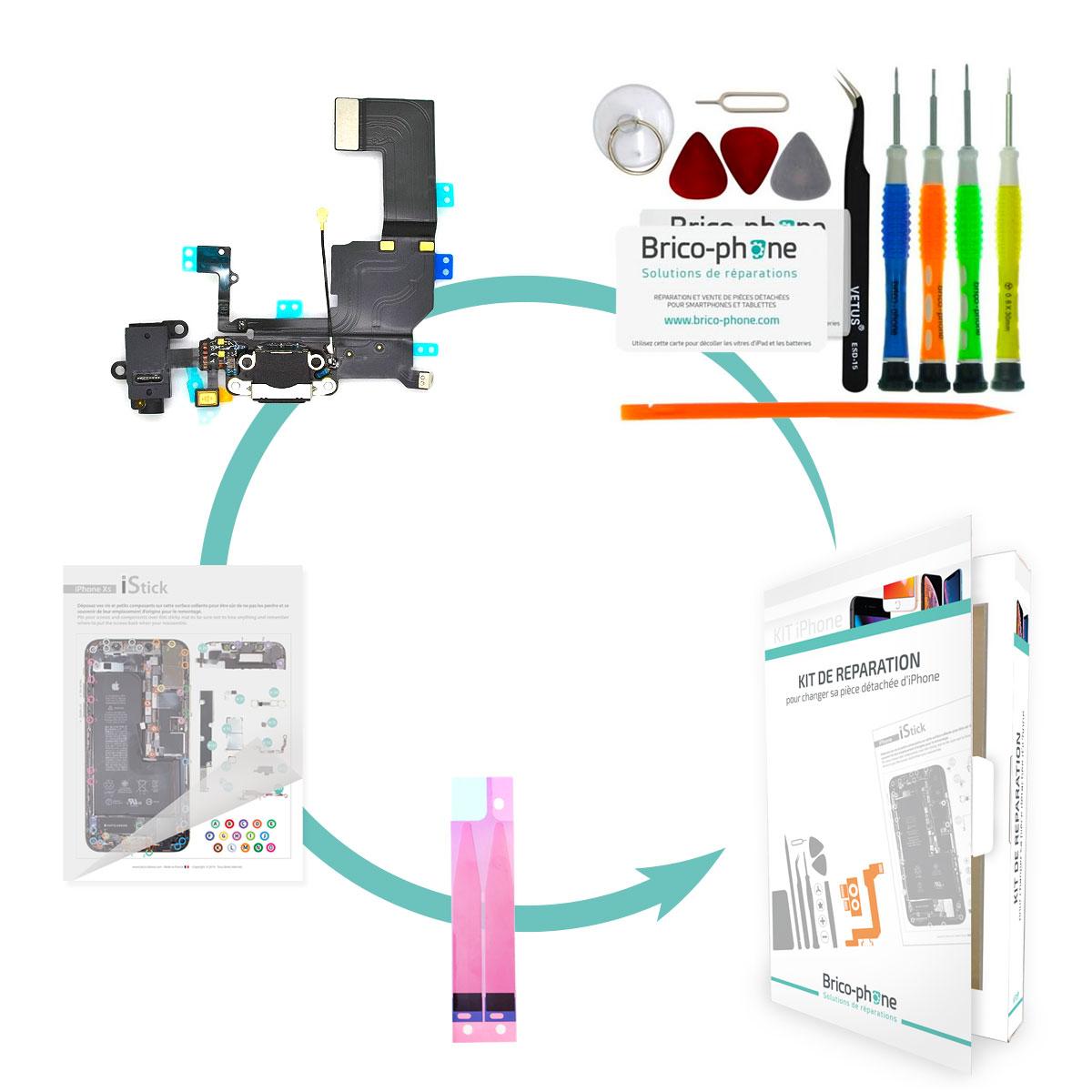 Kit Brico-phone pour changer le connecteur de charge jack et micro  iPhone 5C