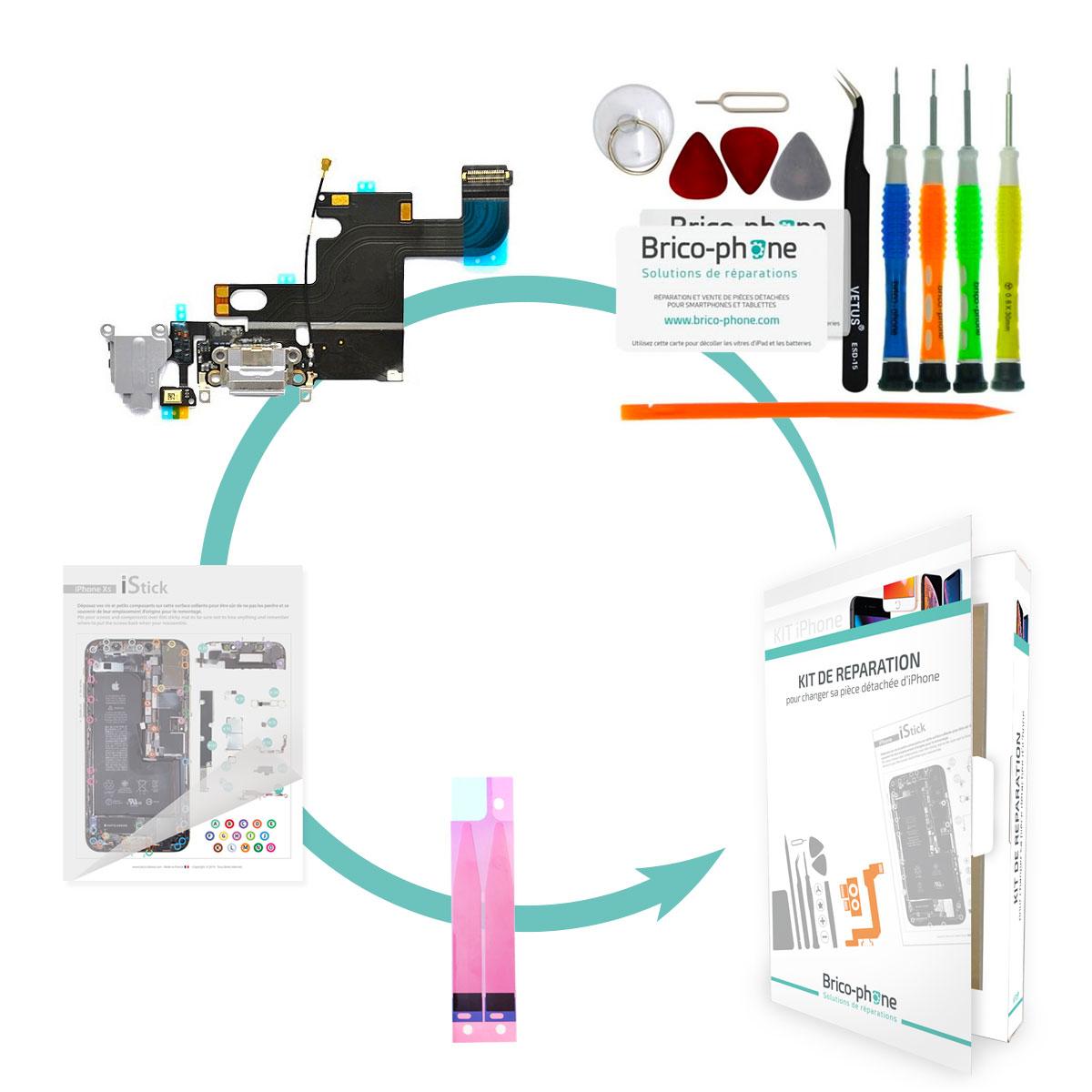 Kit Brico-phone pour changer le connecteur de charge, prise jack et micro GRIS iPhone 6