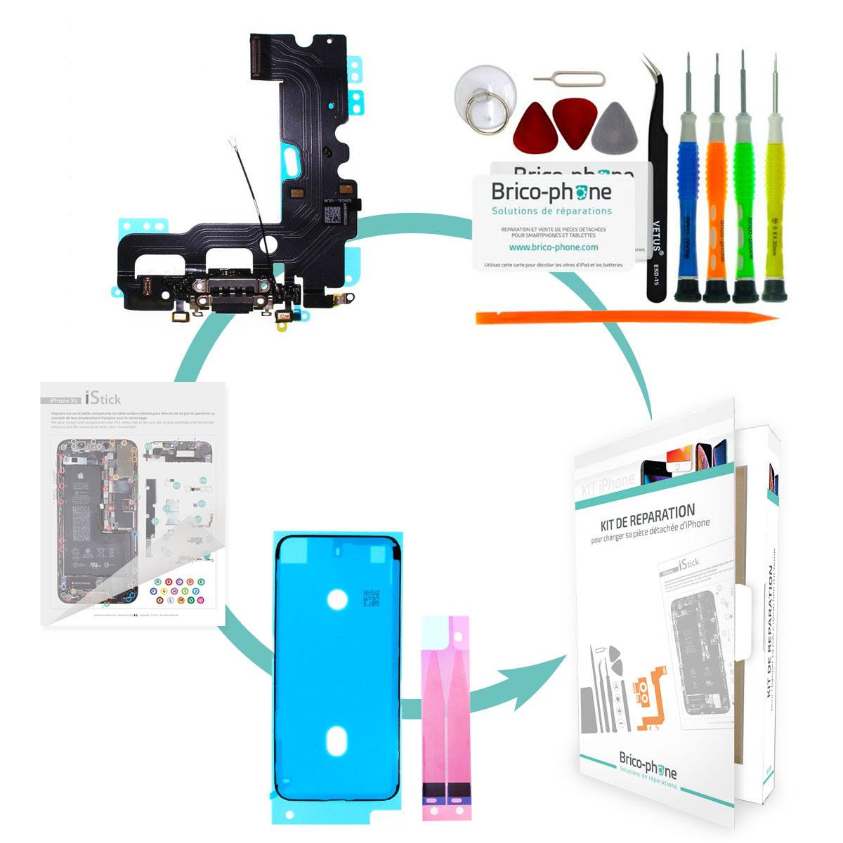 Kit Brico-phone pour changer le connecteur de charge et micro NOIR iPhone 7