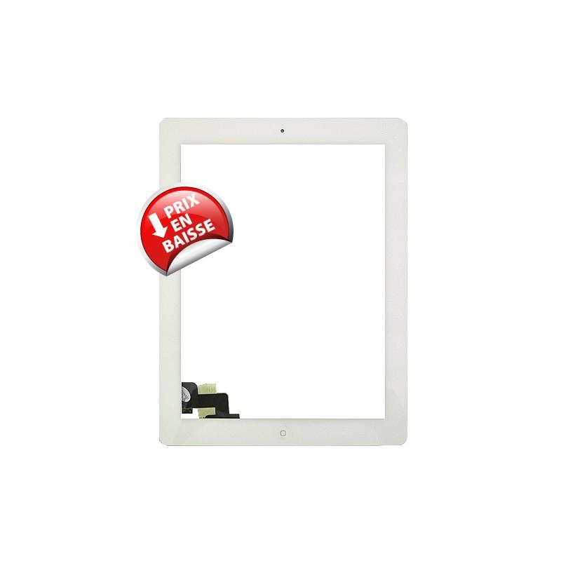 Vitre tactile blanche prémontée avec sticker et bouton home pour IPad 2 qualité supérieure photo 2