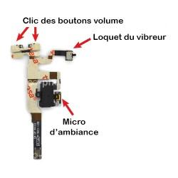 Nappe prise jack + mute et volume + micro d'ambiance pour iPhone 4S Noir photo 3