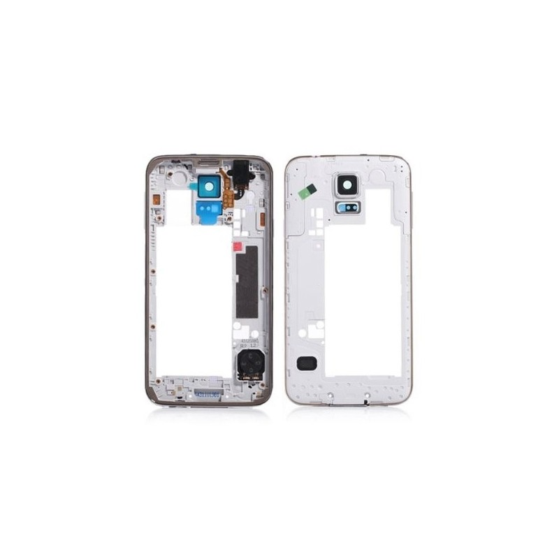 Châssis intermédiaire contour chrome pour Samsung Galaxy S5 Blanc photo 2
