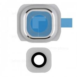 Lentille et contour Blanc de caméra arrière pour Samsung Galaxy S6 photo 2