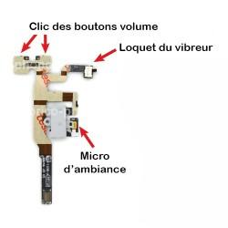 Nappe prise jack + mute et volume + micro d'ambiance pour un iPhone 4S Blanc photo 3