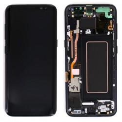Bloc Ecran Amoled et vitre prémontés sur châssis pour Galaxy S8 Noir Carbone photo 2