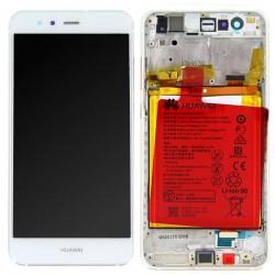 Bloc Ecran Blanc COMPLET prémonté + batterie sur chassis pour Huawei P10 Lite