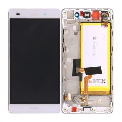 BLoc Ecran Blanc COMPLET prémonté + batterie sur chassis pour Huawei P8 LITE