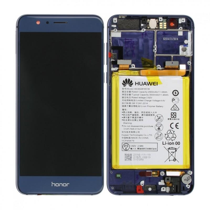 BLoc Ecran Bleu COMPLET prémonté sur chassis + batterie pour Huawei Honor 8
