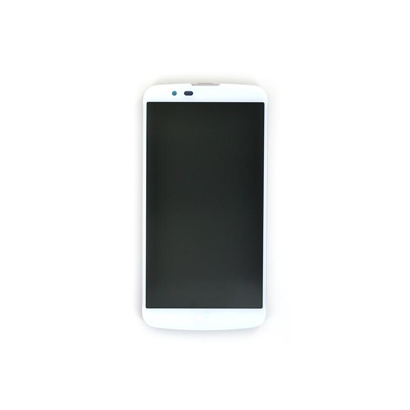 Bloc Ecran Blanc prémonté sur châssis avec vitre et LCD pour LG K10 et K10 LTE
