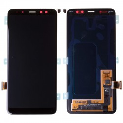 Bloc Ecran noir avec vitre + Amoled pour Samsung Galaxy A8 2018