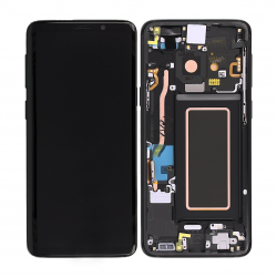 Bloc Ecran Amoled et vitre prémontés sur châssis pour Samsung Galaxy S9 Noir Carbone photo 3