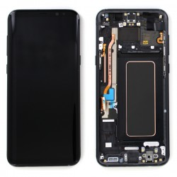 Bloc Ecran Amoled et vitre prémontés sur châssis pour Galaxy S8 Plus Noir Carbone photo 1