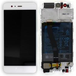 Bloc Ecran Blanc COMPLET prémonté + batterie sur chassis pour Huawei P10 photo 1