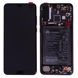 BLoc Ecran Noir COMPLET prémonté sur chassis + batterie pour Huawei P20 Pro Photo 1