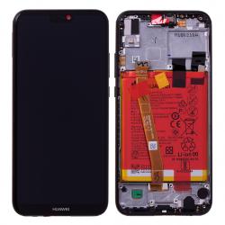 Bloc Ecran Noir COMPLET prémonté sur chassis + batterie pour Huawei P20 Lite Photo 1