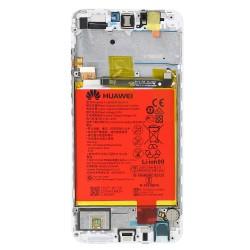 Ecran Blanc COMPLET prémonté sur châssis + batterie pour Huawei P Smart Arrière photo 1