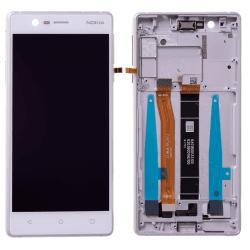 Bloc Ecran Blanc avec vitre et LCD prémontés sur châssis pour NOKIA 3 / 3 Dual sim Photo 1