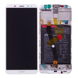 Bloc Ecran Blanc COMPLET prémonté sur chassis + batterie pour Huawei Mate 10 Lite Photo 1