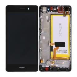 Bloc Ecran Noir COMPLET prémonté + batterie sur chassis pour Huawei P8 LITE