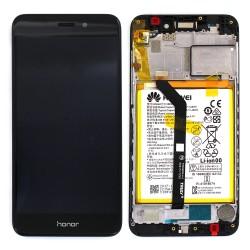 Bloc écran Noir COMPLET prémonté sur chassis + batterie pour Huawei Honor 6C Pro Photo 1
