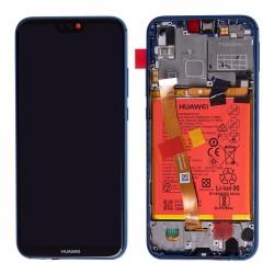 Bloc Ecran Bleu COMPLET prémonté sur chassis + batterie pour Huawei P20 Lite Photo 1