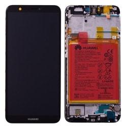 Ecran Noir COMPLET prémonté sur châssis + batterie pour Huawei P Smart Avant Arrière