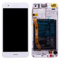 Bloc écran Blanc COMPLET prémonté sur chassis + batterie pour Huawei Y6 Pro 2017 Photo 1