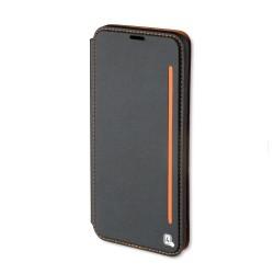 Housse portefeuille en cuir noir et orange 4smarts pour iPhone 7+ photo 1