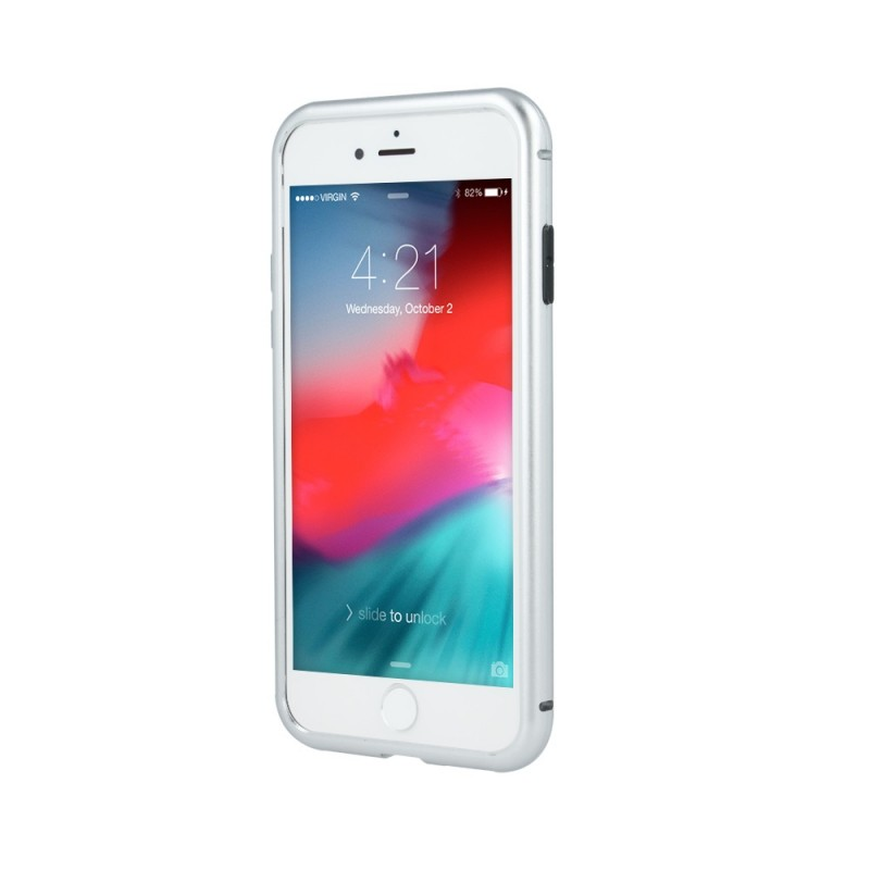 coque transparente avec bumper magnetique argent pour iphone 7 plus et 8 plus