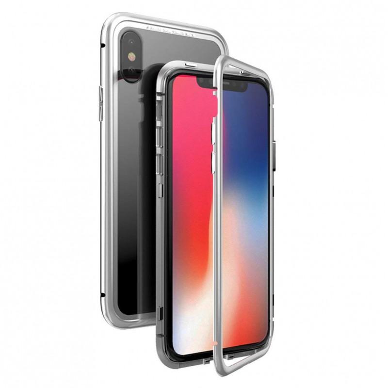 Coque transparente avec bumper magnétique Argent pour iPhone X et XS Photo 1