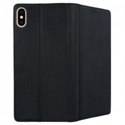 Housse portefeuille avec effet grainé Noir pour iPhone XR Max photo 1