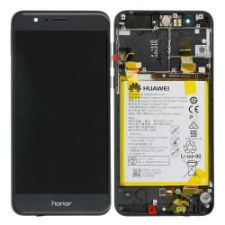 Bloc Ecran Noir COMPLET prémonté sur châssis avec batterie pour Huawei Honor 8 photo 1