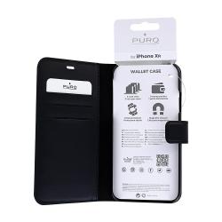 Housse portefeuille en cuir écologique noir pour iPhone Xr_photo1