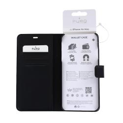 Housse portefeuille en cuir écologique noir pour iPhone Xs Max_photo1