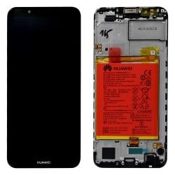 Bloc Écran Noir complet pré-monté + batterie sur châssis pour Huawei Y7 2018_photo1