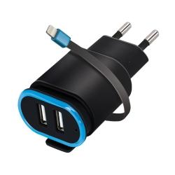 Chargeur secteur 2 ports USB et câble lightning_photo1
