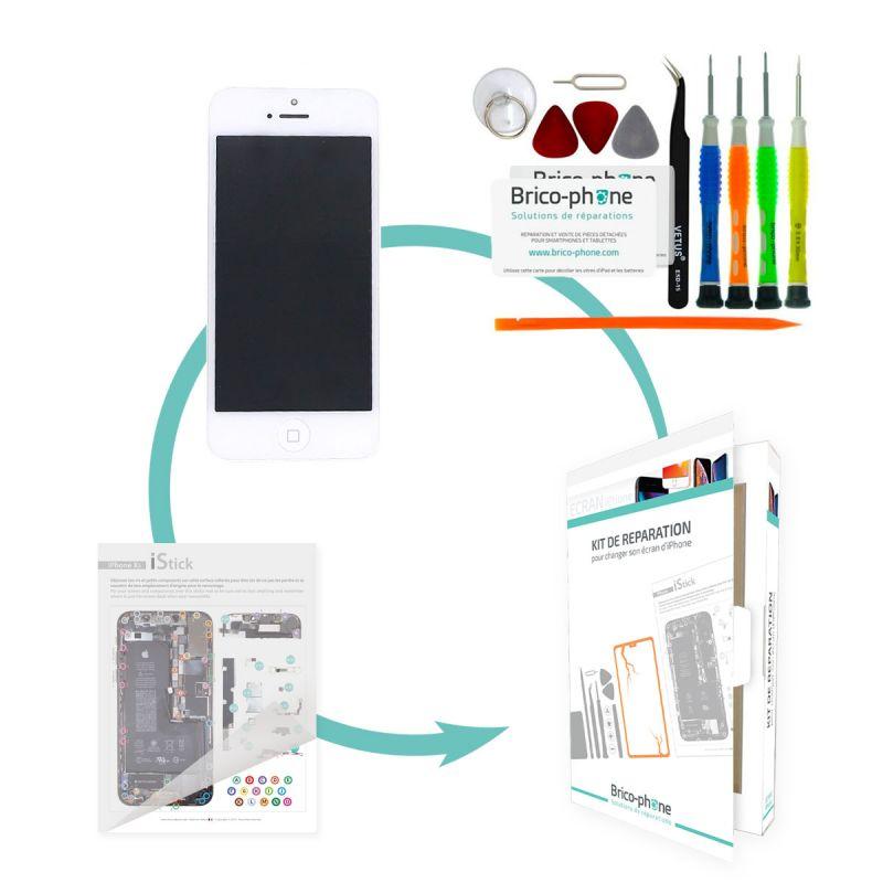 Kit de réparation Brico-phone avec écran BLANC iPhone 5 RAPPORT QUALITE / PRIX pré-assemblé