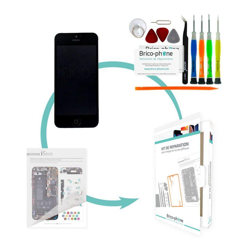 Kit de réparation Brico-phone avec écran NOIR iPhone 5 PREMIUM pré-assemblé