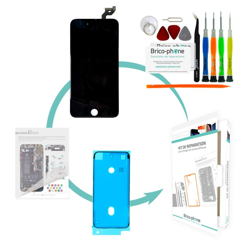 Kit de réparation Brico-phone avec écran NOIR iPhone 6S Plus RAPPORT QUALITE / PRIX Pré-assemblé