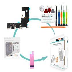 Kit de réparation Brico-phone avec connecteur de charge prise jack et micro BLANC  iPhone 5S