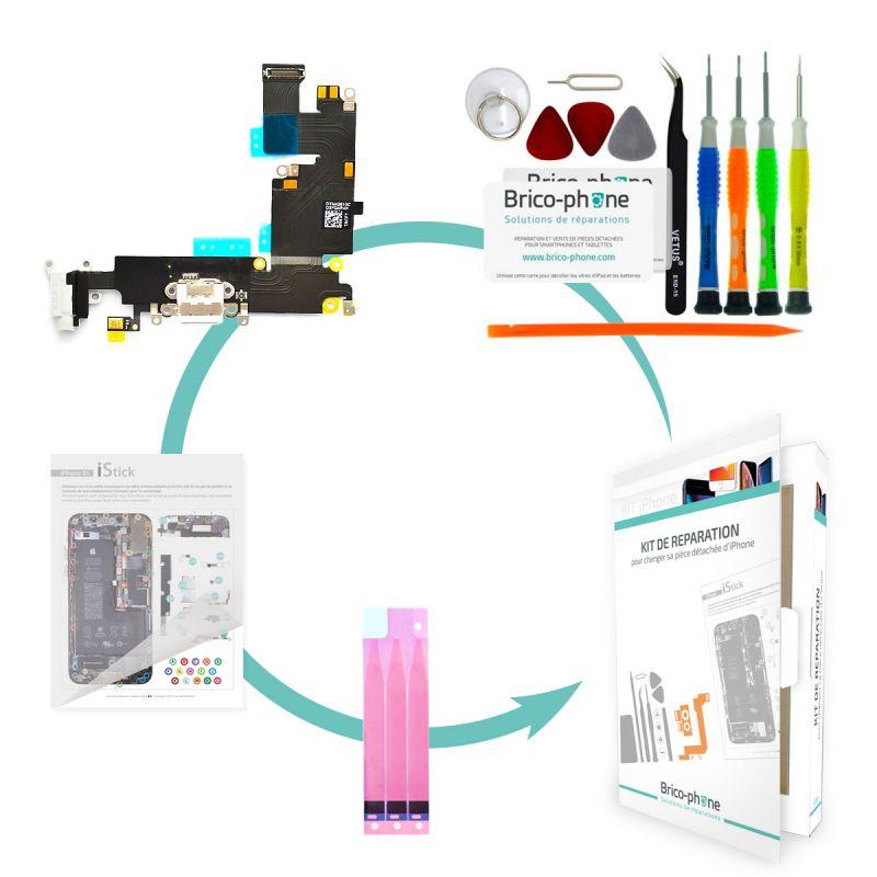 Kit de réparation Brico-phone avec connecteur de charge et prise jack BLANC  iPhone 6 Plus