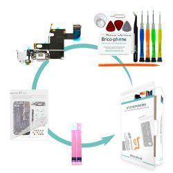 Kit de réparation Brico-phone avec connecteur de charge, prise jack et micro BLANC  iPhone 6
