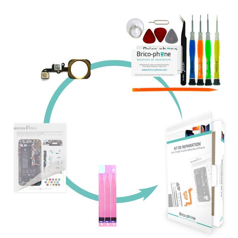 Kit de réparation Brico-phone avec nappe home GOLD iPhone 6 Plus