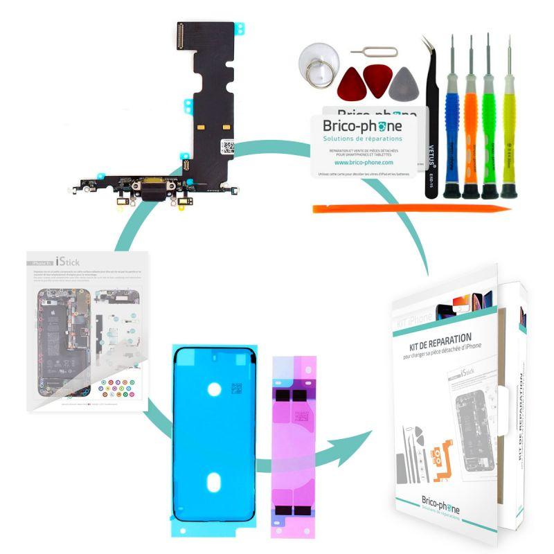 Kit de réparation Brico-phone avec connecteur de charge  et micro NOIR iPhone 8 Plus