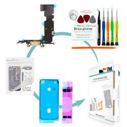 Kit de réparation Brico-phone avec connecteur de charge  et micro OR iPhone 8 Plus
