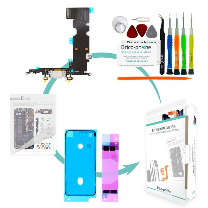 Kit de réparation Brico-phone avec connecteur de charge et micro GRIS iPhone 8 Plus